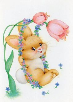 Vintage Postcard bunny by CuteEyeCatchers on Etsy