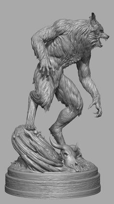 I had the awesome privilege to recreate a horror movie icon, the werewolf from The Howling. I was responsible for the entire ZBrush sculpt and the great Jerry Macaluso from PCS Collectibles provided terrific art direction (that fur! My Fantasy World, New Fantasy, Zbrush, Imprimente 3d, 3d Character, Character Design, The Howling, Werewolf Art, Creature Design