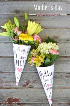 A bouquet of flowers were never more personal than with these free printable Mother's Day flower wrappers.