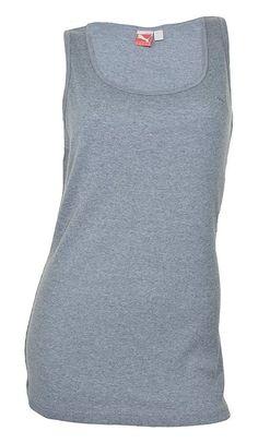 $6.43 - Puma Womens Ribbed Cat Boy Tank Top Medium Gray Heather #puma