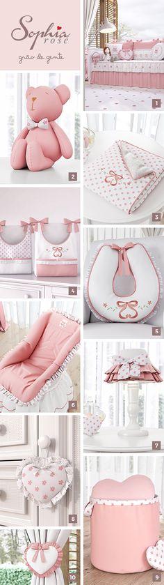 A Coleção Sophia Rosé é um enxoval feminino e sofisticado para o quarto de menina. Confira alguns do acessórios exclusivos: 1 - Kit Cama Babá 2 - Ursa Rosé 3 - Cobertor 4 - Porta fraldas 5 - Almofada amamentação 6 - Capa para bebê conforto 7 - Abajur 8 - Enfeite para puxador 9 - Cesto organizador 10 - Prendedor de cortina #gravidez #maternidade #quartodebebe