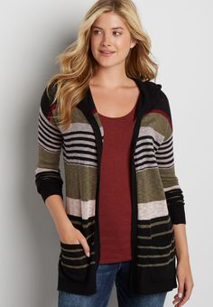 lightweight hooded cardigan with stripes in olive green combo (original price, $29.99) available at #Maurices