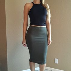 Olive Midi Pencil Skirt (LAST MEDIUM!) Olive Midi Pencil skirt. Brand new. Never worn. Available in S-M-L. Model is wearing a small. No Paypal. No trades. 10% discount on all bundles made with the bundle feature. No offers will be considered unless you use the make me an offer feature.     Please follow  Instagram: BossyJoc3y  Blog: www.bossyjocey.com Skirts Midi