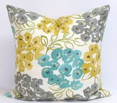 Teal/Grey/Yellow Pillow. 16x16 by ElemenOPillows on Etsy.