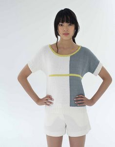 Standard-fitting colorblocked dolman tee with contrast details. Sized for Small, Medium, Large, X-Large, and XX-Large and shown in size Small on page 42.