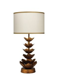 """Flowering Lotus 29"""" H Table Lamp with Drum Shade"""