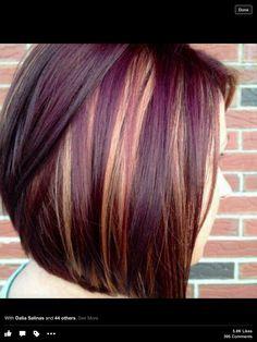 Brown w/ purple n blonde