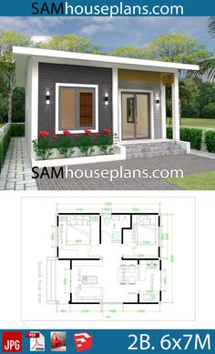 House Plans with 2 bedrooms Full PlansThe House has:-Car Parking and garden-Living room,-Dining Bedrooms, 1 bathroom Sims House Plans, House Layout Plans, Small House Plans, House Layouts, House Floor Plans, Bungalow House Design, Tiny House Design, Modern House Design, Contemporary Design