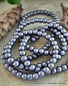 Dark Slate Gray Pearlized 6mm Round Glass Bead by CedarCreekCanada