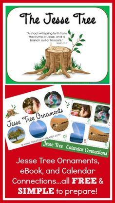 Love our Jesse Tree tradition- but here is another. Jesse Tree Collection ~ eBook, calendar cards, and printable ornaments.FREE from Carisa Preschool Christmas, Christmas Activities, Christmas Printables, Christmas Traditions, Christmas Themes, Christmas Crafts, Advent Activities, Holiday Decorations, Christmas Labels