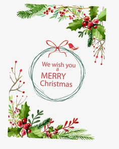 Christmas watercolor card vector, Christmas, Merry, FLOWER PNG and Vector Happy Merry Christmas, Christmas Flyer, Vector Christmas, Christmas Gift Tags, Xmas Cards, Illustration Noel, Christmas Illustration, Christmas Plants, Christmas Projects