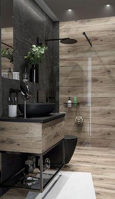 Bathroom Design Luxury, Modern Bathroom Decor, Bathroom Layout, Modern Bathroom Design, Washroom Design, Wooden Bathroom, Rustic Bathrooms, Bathroom Lighting, Kitchen Decor