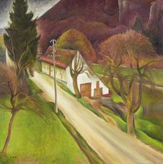 Albert Birkle (1900-1986, Germany painter) - Dorfstraße 1927