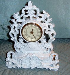 Upcycled Syroco Clock White Ornate Clock Desk by CissysCrafts, $20.00