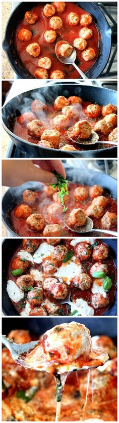 Turkey Meatballs in Spicy Tomato Basil Sauce with Burrata - pasta dinner Turkey Recipes, Meat Recipes, Chicken Recipes, Dinner Recipes, Cooking Recipes, Healthy Recipes, I Love Food, Good Food, Yummy Food