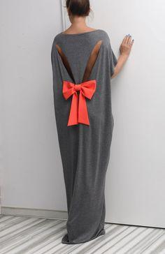 Dark Grey Backless dress, Maxi Dress, caftan, Backless dress, Open back dress…
