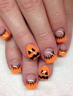 Beautiful Nail Designs, French Nail Designs, Nail Art Designs, Best Black, Halloween Nail Designs, Halloween Nail Art, Orange Nail Art, Orange Nails, Diy Nails