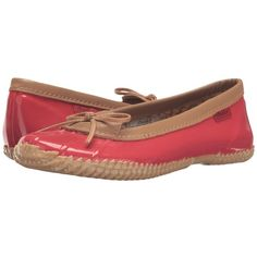 Chooka Duck Skimmer (Red) Women's Flat Shoes (3.265 RUB) ❤ liked on Polyvore featuring shoes, flats, flat pumps, bow flats, ballerina flat shoes, rubber sole shoes and slip-on shoes