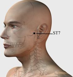 This point helps to relieve headache, toothache, TMJ problems, joint pain, earache and pressure inside the ear. Acupuncture Points, Acupressure Points, Jaw Pain, Neck Pain, Shiatsu, Trigger Point Therapy, Self Treatment, Reflexology Massage, Salud Natural
