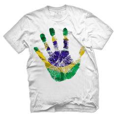 Glit-Z Brazilian Flag Handprint Men's T Shirt