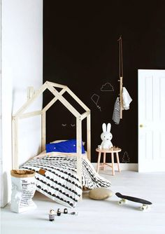 Black and white Scandi-style kids' room, from Inside Out magazine December 2014. Styling by Jessica Hanson. Photography by Craig Wall. Via Poppytalk.