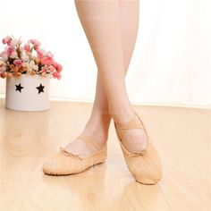 [US$ 8.99] Women's Satin Flats Ballet Practice With Lace-up Dance Shoes (053108040)