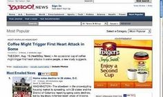 Ad Placement Fail - Coffee Induced Heart Attack Article Shows Up Beside Folgers Ad
