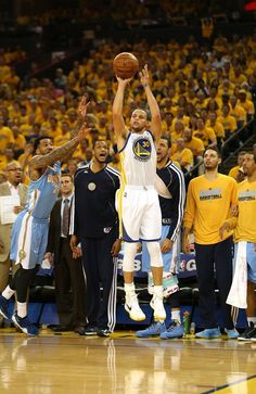 Stephen Curry shoots a three pointer against the Denver Nuggets during Game Four of the Western Conference Quarterfinals of the 2013 NBA Playoffs