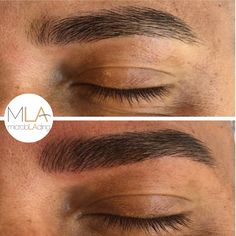Achieved a natural & more full look for this clients brows by simply adding hair strokes to his sparse areas. Brows done by #microblading by Julia Faria ✍