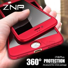 ZNP Luxury Hard 360 Full Cover Protection Case For iPhone 8 7 6 Plus 6s Phone Cases For iphone 6 6s 7 8 Case With Tempered Glass //Price: $6.99 & FREE Shipping //   #phonebattery