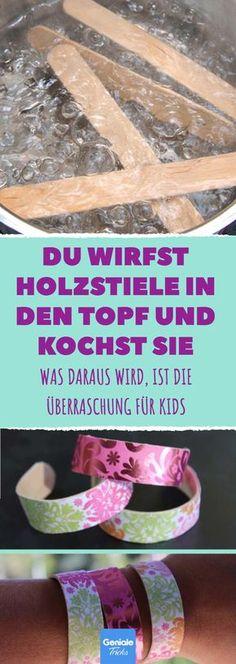 Verblüffend: Aus gekochten Eisstielen wird wunderschöner Armschmuck #diy #upcycling #basteln #kinder #armreif