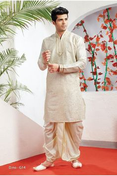 Poly Banarsi Brocade Dhoti Kurta - 5100 - Silk India International Ltd