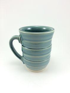 Wheelthrown mug with Rainforest glaze