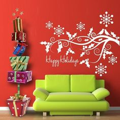 Vinyl Wall Decal Sticker Art - Happy Holidays in the Woods