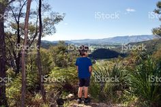 Child looking at View of New Zealand Landscape royalty-free stock photo