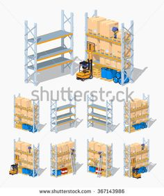 Warehouse shelves. Empty and full. 3D lowpoly isometric vector illustration. The set of objects isolated against the white background and shown from different sides
