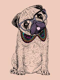 Hipster Pug  Art Print
