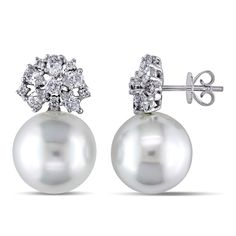 Miadora 18k Gold South Sea Pearl and 1ct TDW Diamond Earrings