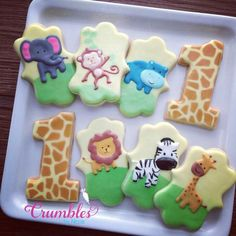 Crumbles by Nicole :  Jungle themed baby birthday cookies