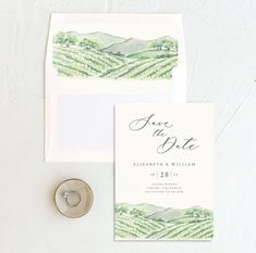 A beautiful winery themed save the date with your custom save the date details above a hand painted winery motif. The back of the card includes your initials accented by a painted olive branch. Invites, Wedding Invitations, Modern Save The Dates, Wedding Stationary, Save The Date Cards, Knot, Initials, Dating, Hand Painted