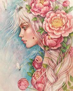 #nedzelska_twins #watercolor #aquarelle #drawing #painting #girl #flowers #illustration #fineart #artwork #art #topcreator #artblogvk #art_we_inspire