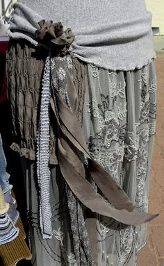 close-up view of my new t-shirt & beaded upcycle dress...