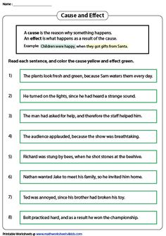Use our printable worksheets to identify causes and effects in sentences. Learn the signal words, and practice writing pithy causes and effects. Language Arts Worksheets, 1st Grade Worksheets, Kindergarten Worksheets, Printable Worksheets, Cause And Effect Worksheets, English Vocabulary, English Grammar, Subject And Predicate Worksheets, Conversational English