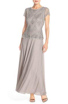 Main Image - Pisarro Nights Embellished Mech & Chiffon Gown (Regular & Petite)