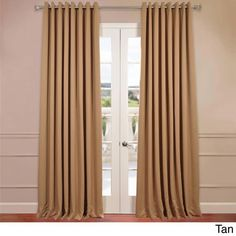 Exclusive Fabrics Extra Wide Thermal Blackout Grommet Top 120-inch Curtain Panel (Tan), Brown, Size 120 x 100 (Polyester, Solid)