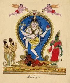 Śiva as Nataraja is shown dressed in a tiger skin, dancing the ananda tandava (dance of bliss). Company School, Tamil Nadu, c. 1820.