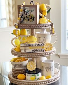 """These cute stacks of 3 lemon books are the perfect addition to your spring and summer lemon decor. Looks great on a tiered tray. Each stack has a yellow accent book that looks great with lemons. Choose from """"easy peasy lemon squeezy Lemon Kitchen Decor, Yellow Kitchen Decor, Tray Styling, Tiered Stand, 3 Tier Stand, Beaded Garland, Tray Decor, Wall Decor, Easy Peasy"""