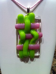 Fused glass basket weave pendant. glass necklace fused by bizzib, $29.95