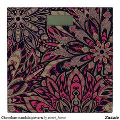 Chocolate mandala pattern bathroom scale  #Home #decor #Room #Interior #decorating #Idea #Styles #Traditional #Boho #Indian #Vintage #floral #motif
