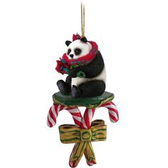 Realistic Hand Painted Cast Resin Giant Panda Bear on a Candy Cane Ornament